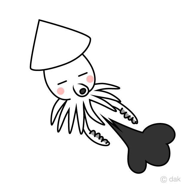 墨を吐く可愛いイカキャラの無料イラスト素材イラストイメージ