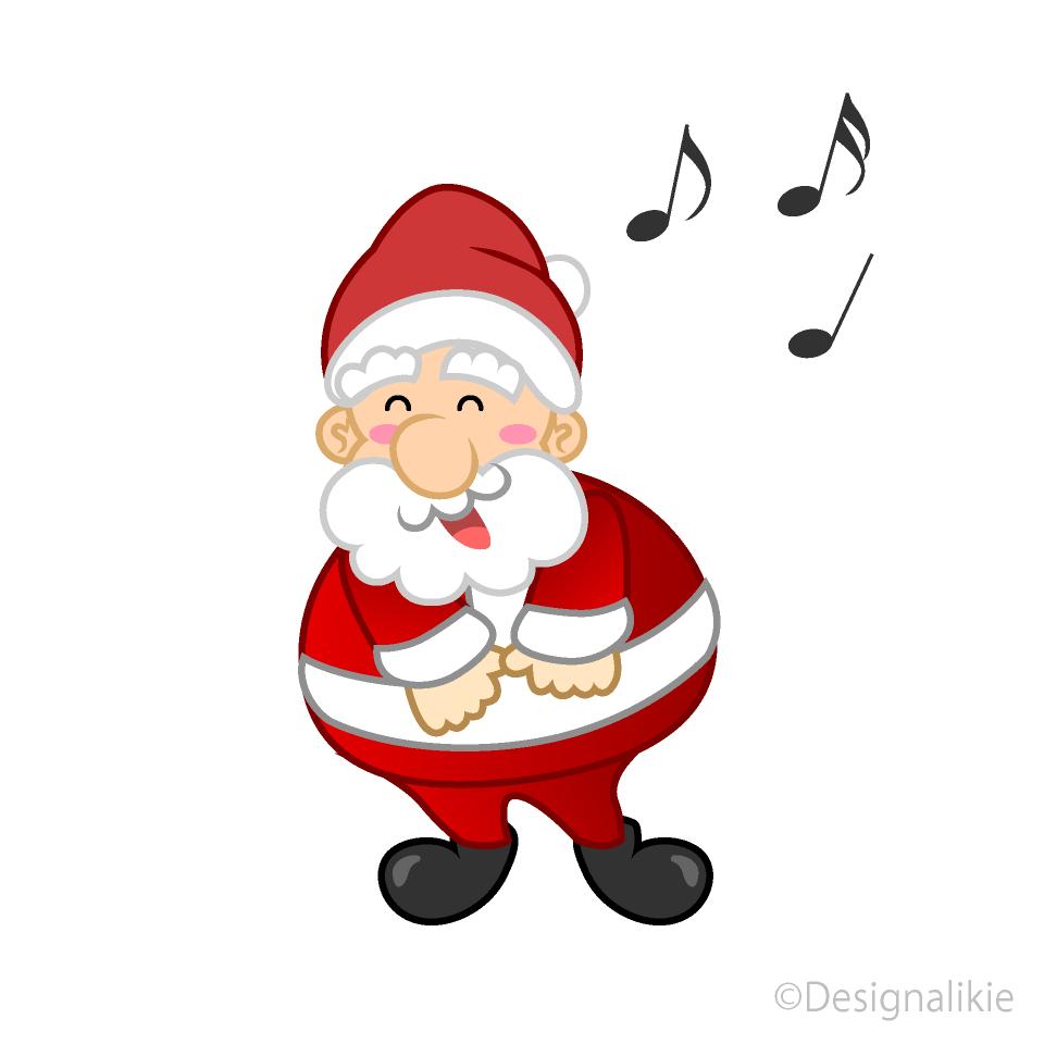 歌うサンタキャラの無料イラスト素材イラストイメージ