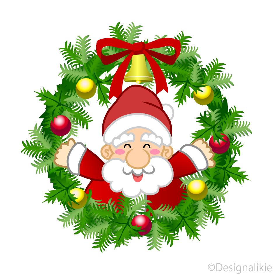 クリスマスリースのサンタキャラの無料イラスト素材イラストイメージ