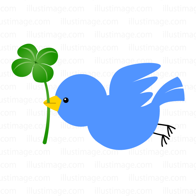 Blue bird and four leaf clover