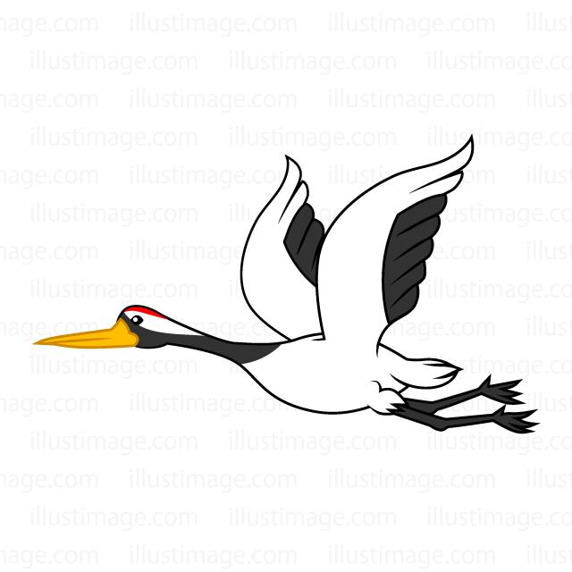 飛ぶ鶴の無料イラスト素材イラストイメージ