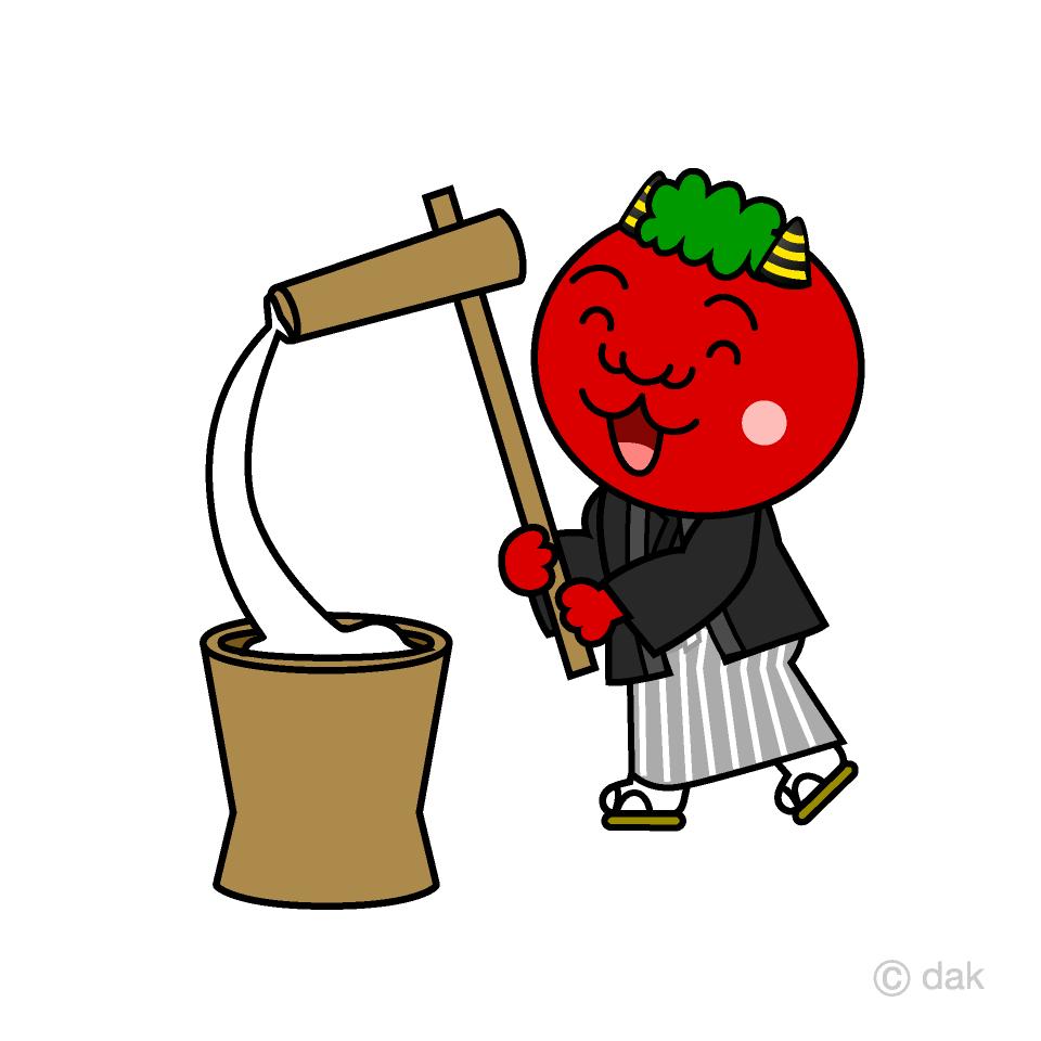 正月事始めの赤鬼キャラの無料イラスト素材 イラストイメージ