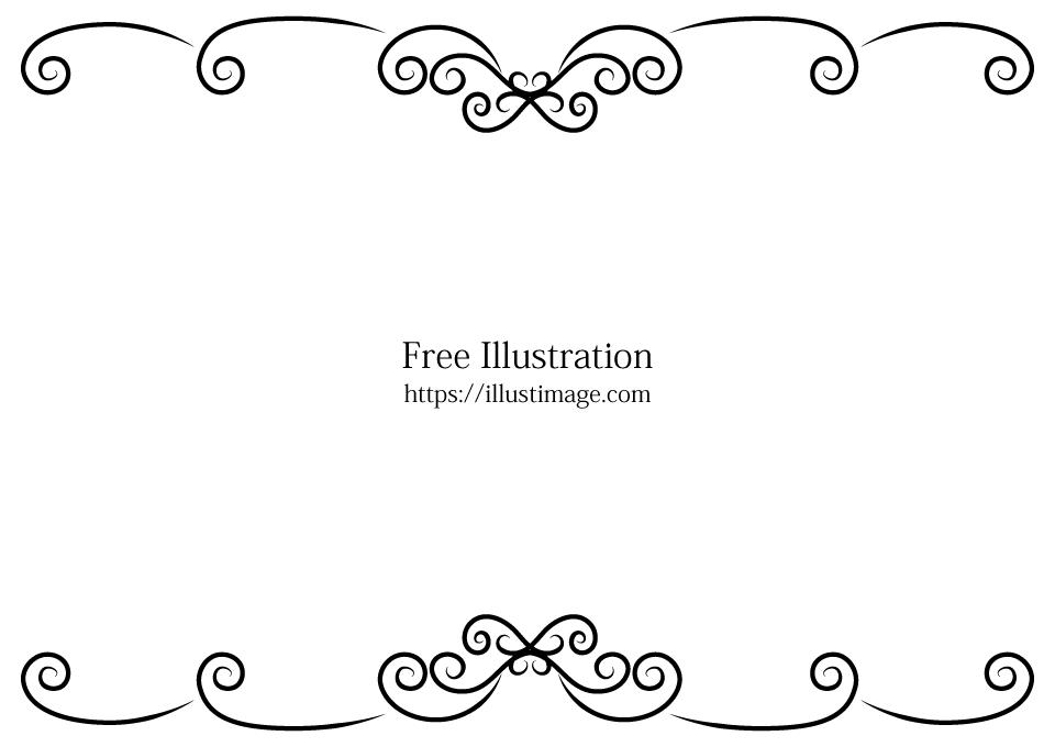 白黒草木模様フレームの無料イラスト素材イラストイメージ
