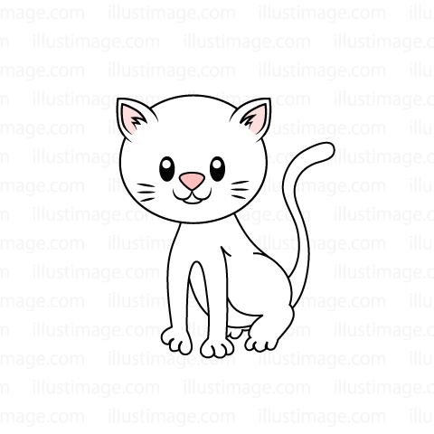 白い子猫の無料イラスト素材イラストイメージ