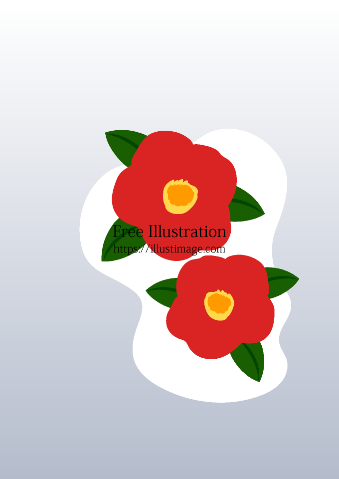 雪に咲く椿の背景の無料イラスト素材イラストイメージ