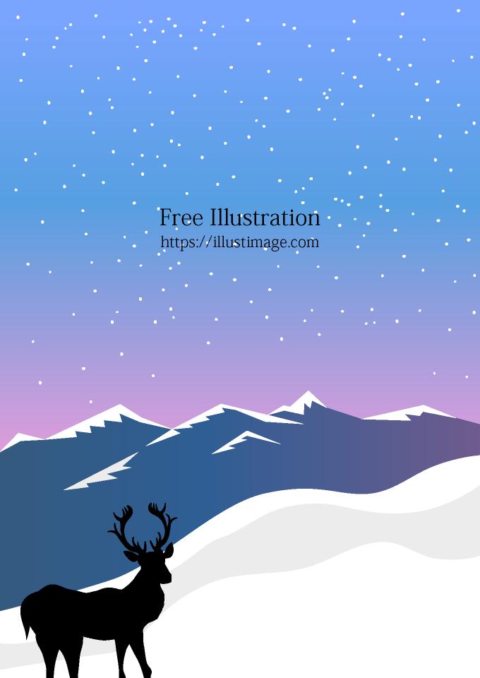 雪山に佇む鹿の背景画像の無料イラスト素材イラストイメージ