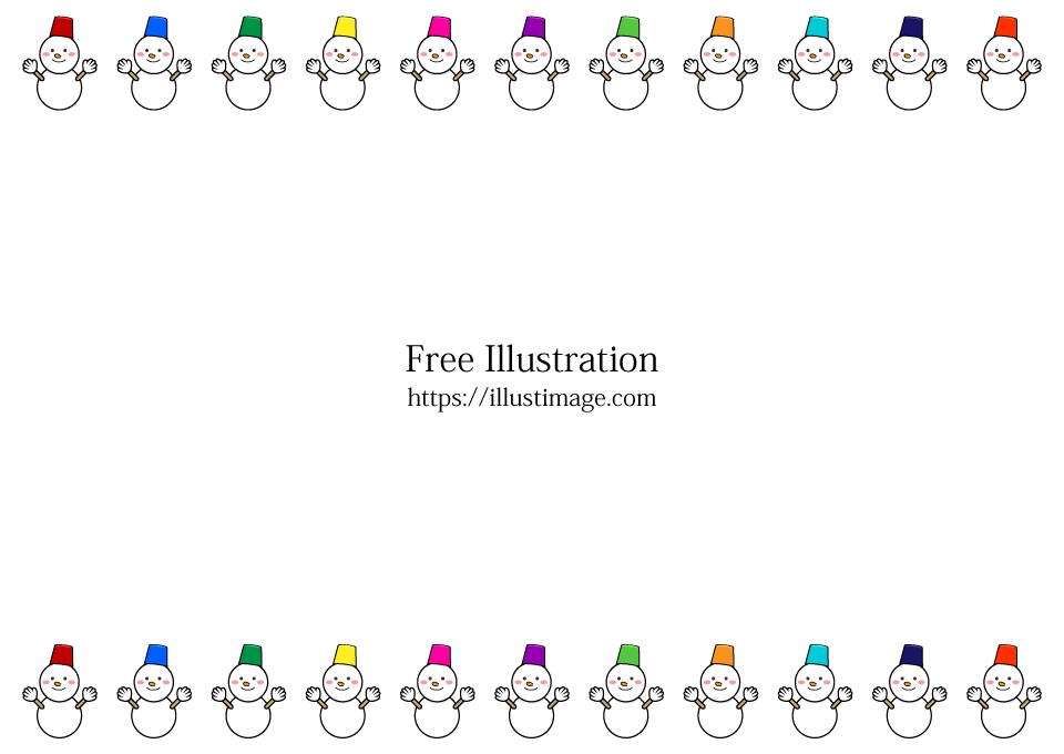 雪だるまフレームの無料イラスト素材イラストイメージ