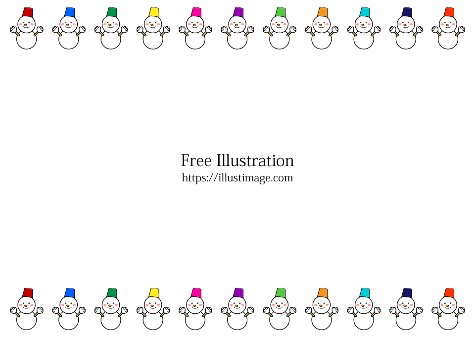 雪だるまフレームの無料イラスト素材|イラストイメージ