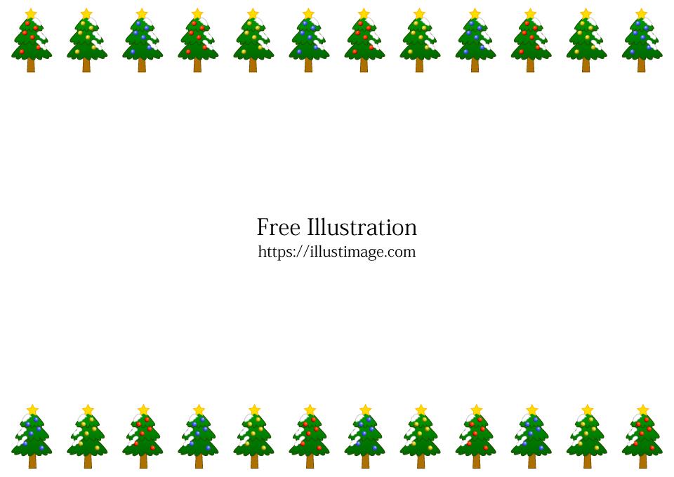 クリスマスツリーフレームの無料イラスト素材 イラストイメージ