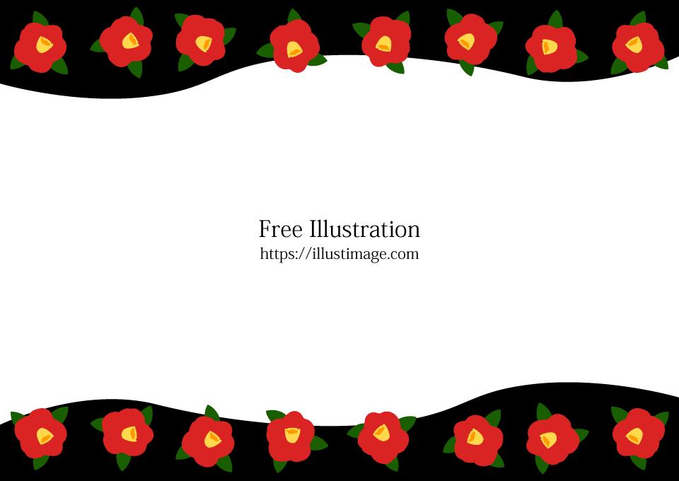 椿の花の和フレームの無料イラスト素材イラストイメージ