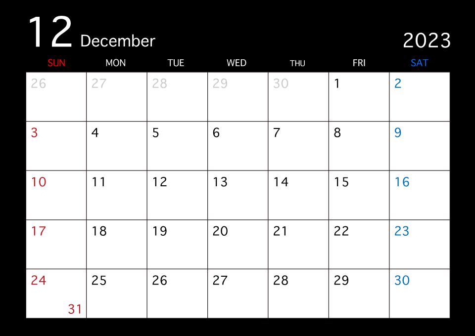 21年12月の黒カレンダーの無料イラスト素材 イラストイメージ