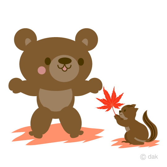 Autumn bears and squirrels