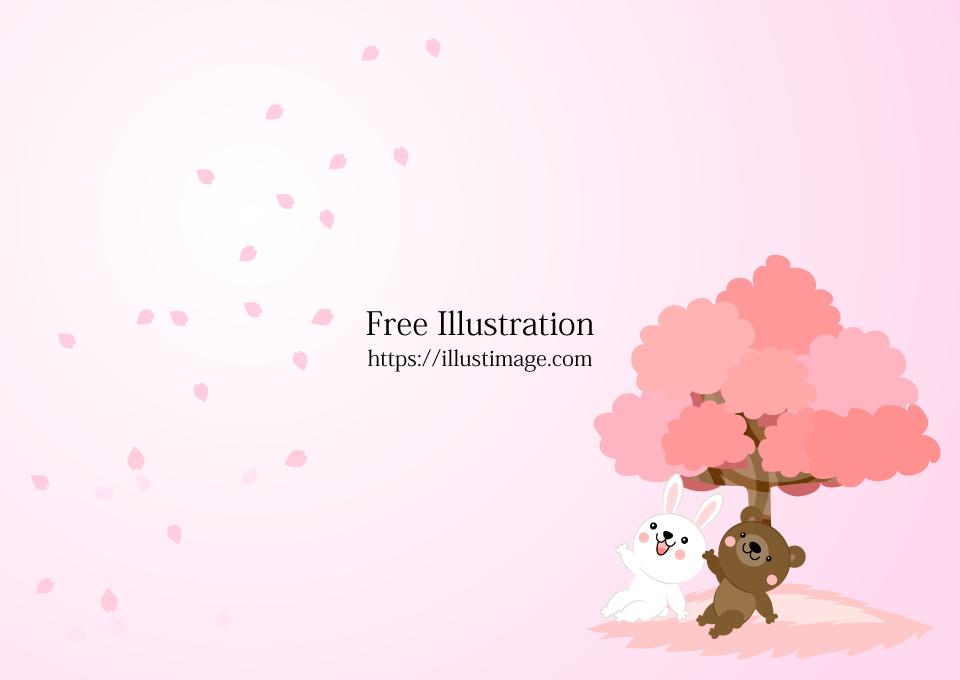 お花見するウサギとクマの壁紙の無料イラスト素材イラストイメージ