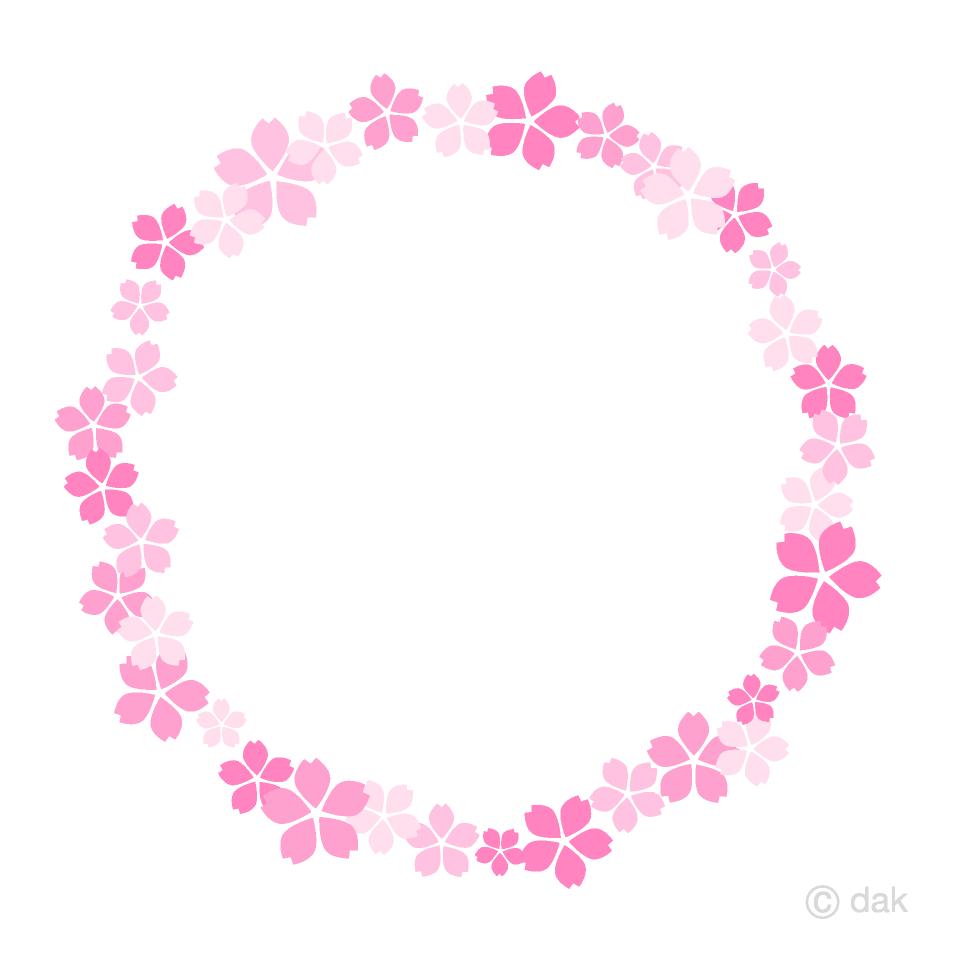 可愛い桜の花リースの無料イラスト素材イラストイメージ