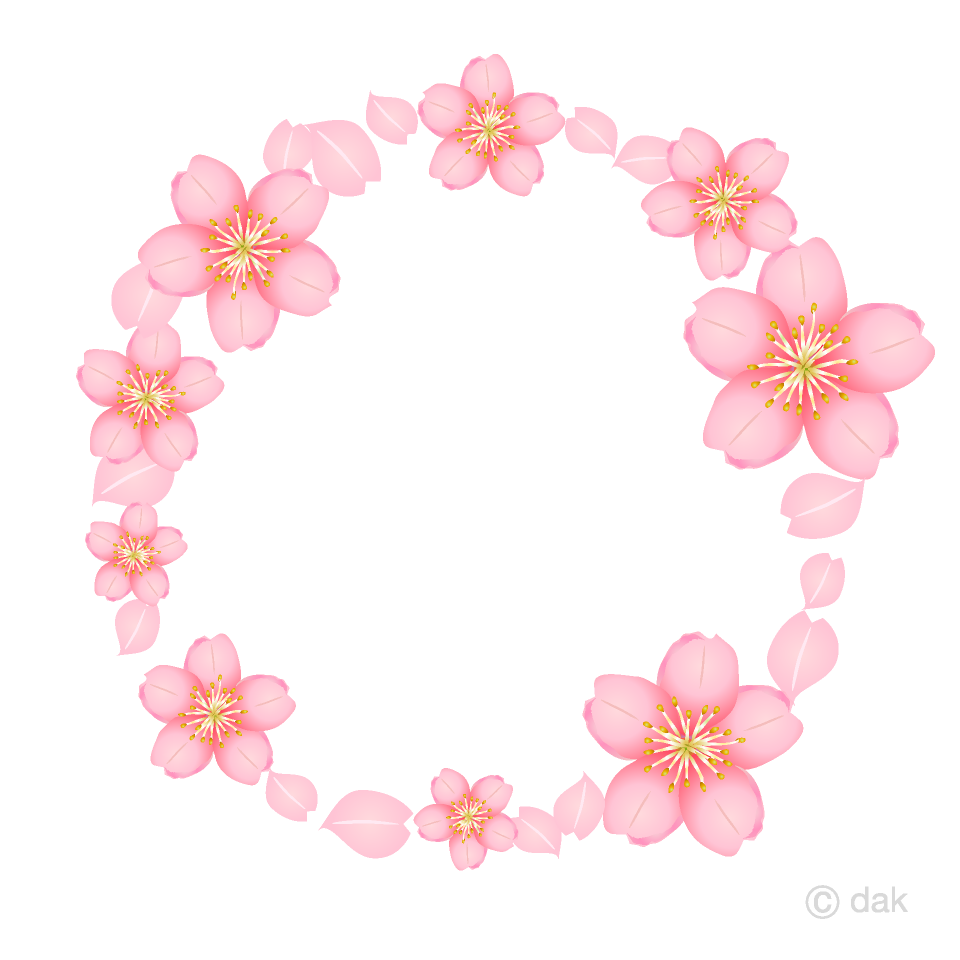 桜の花リースの無料イラスト素材 イラストイメージ