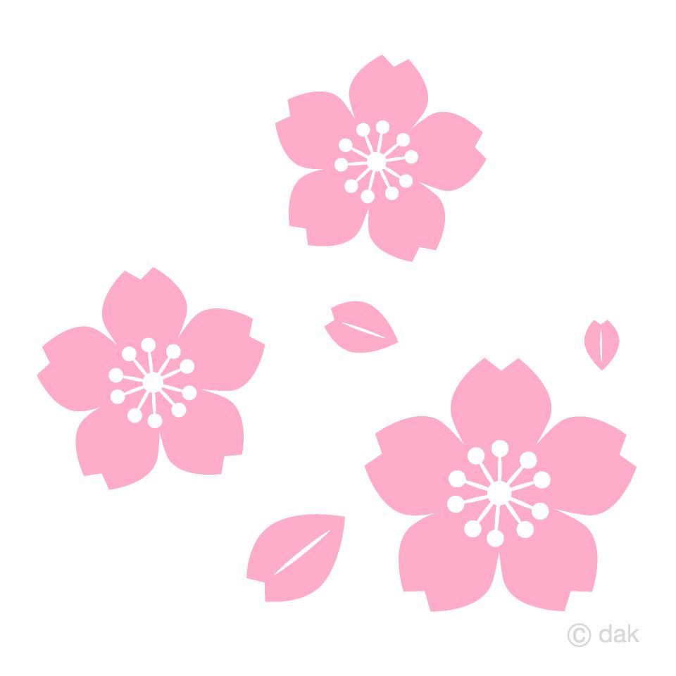 散る桜花マークの無料イラスト素材 イラストイメージ