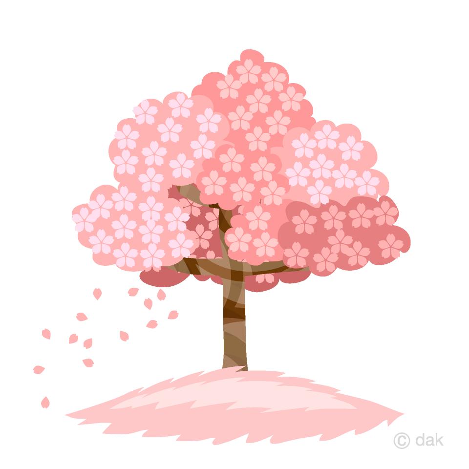 花びらが散る桜の木の無料イラスト素材イラストイメージ