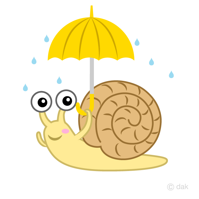 傘をさすかたつむりの無料イラスト素材イラストイメージ