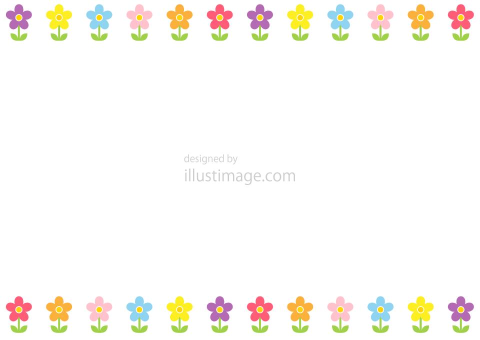 カラフルなかわいい花フレームの無料イラスト素材イラストイメージ