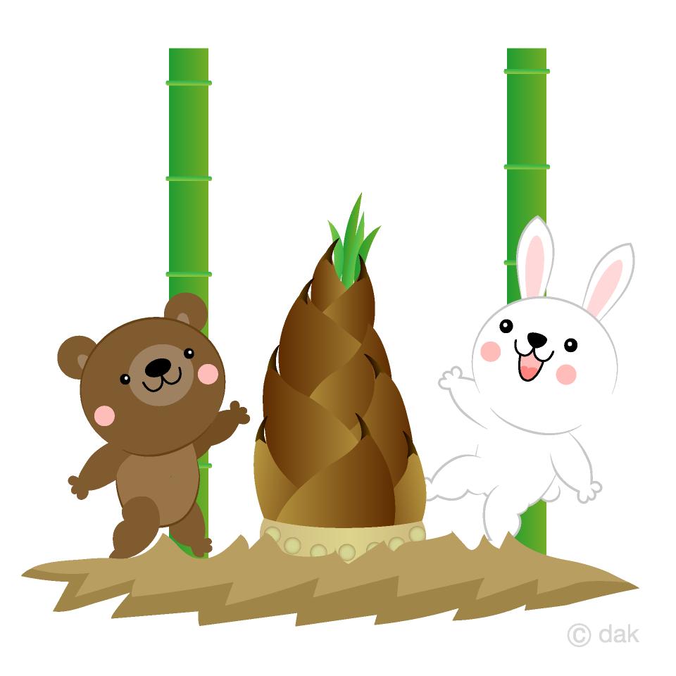 タケノコ掘りする動物たちの無料イラスト素材イラストイメージ