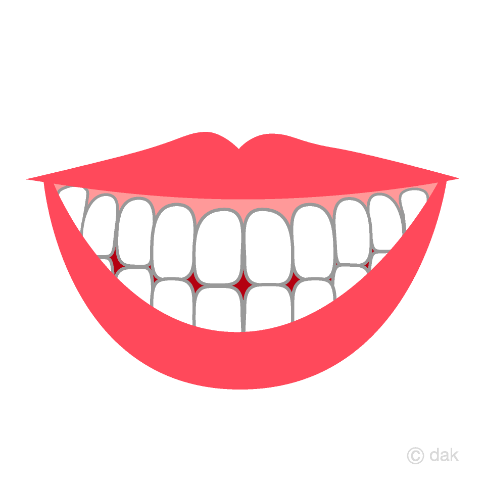 笑顔の口の歯の無料イラスト素材イラストイメージ