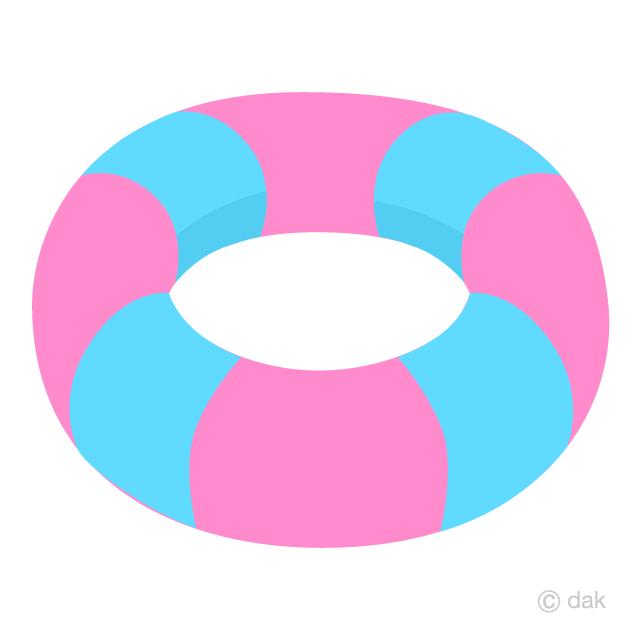 水色ピンクの浮き輪の無料イラスト素材イラストイメージ