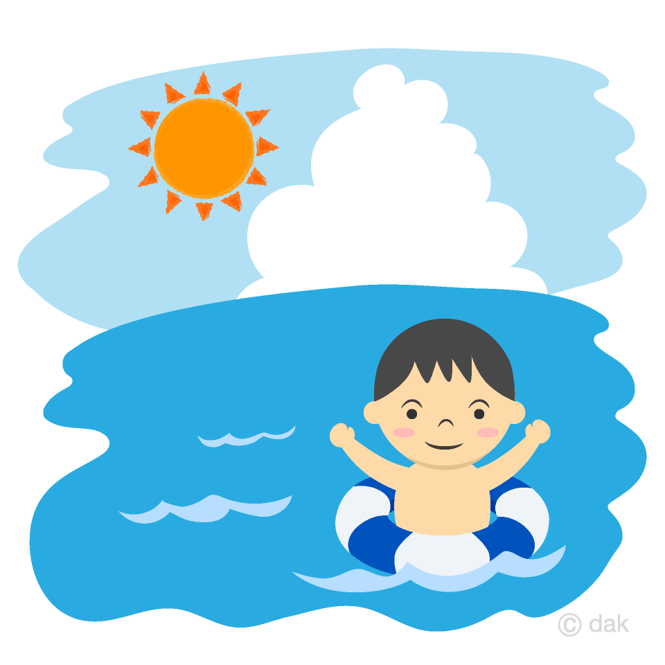 浮き輪で泳ぐ男の子の無料イラスト素材イラストイメージ