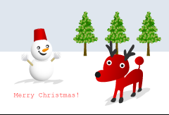 Reindeer and Snowman Christmas Card