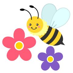 かわいいミツバチとスミレの花の無料イラスト素材イラストイメージ