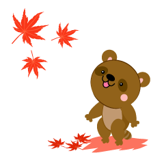 Raccoon dog of autumn leaves