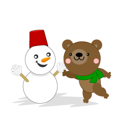 Bear making snowman