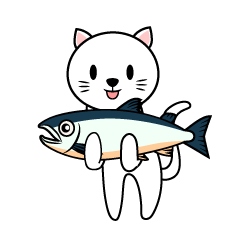 Cute cat holding a fish