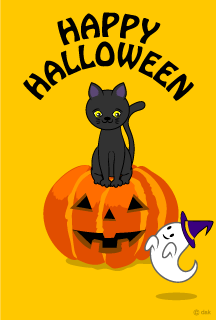 Cute black cat and a Halloween pumpkin