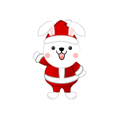 Cute little rabbit Santa Claus clip art