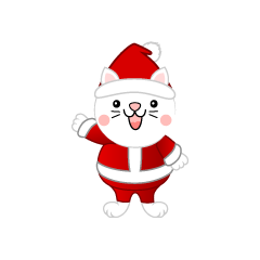 Cute white cat Santa Claus clip art