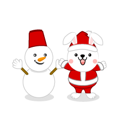 Christmas clip art of rabbit and snowman