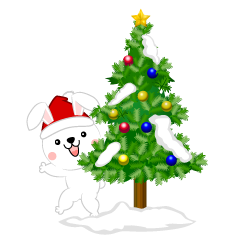 White rabbit Christmas tree clip art