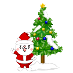 White cat Christmas tree clip art