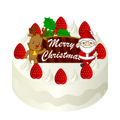 Reindeer and Santa Claus's Christmas cake