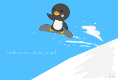 Penguins doing snowboarding