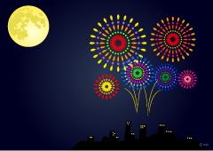 Fireworks of the moonlit night