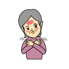 Older female cold with a cold