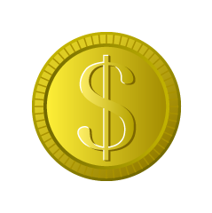 Coin in dollar currency