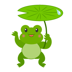 Frog to umbrella the leaves  clip art
