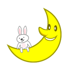 Moon and rabbit characters