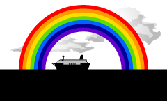 Passenger boat sailing in the rainbow graphic design