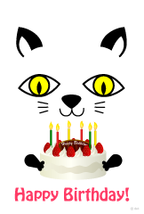 Cats and cake birthday cards