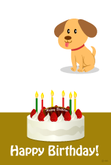 Dog and birthday cake birthday card