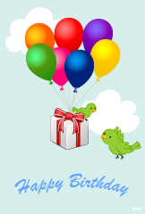 Balloons and little bird birthday cards