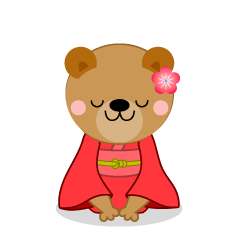Bear to bow in kimono clip art